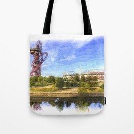 West Ham Olympic Stadium And The Arcelormittal Orbit Art Tote Bag