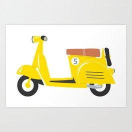 Retro yellow scooter Art Print
