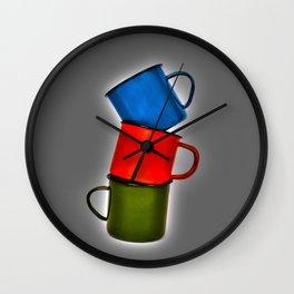 Vintage green, blue, red enamel mugs in modern look Wall Clock