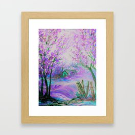 Pink Abstract Landscape with Trees and Cottage Framed Art Print