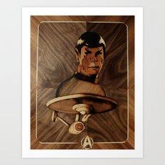 Original Leonard Nimoy (mr. Spock) on enterprise series of wood by Andulino Art Print