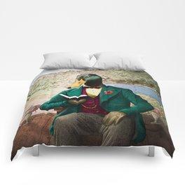 Monsieur Mallard Reading an Improving Book Comforters