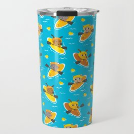 Cats and Dogs in Canoes Travel Mug