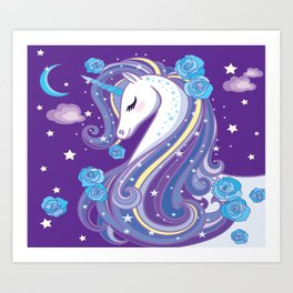Magical Unicorn in Purple Sky Kunstdrucke