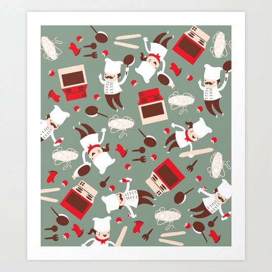 Chef pattern Art Print