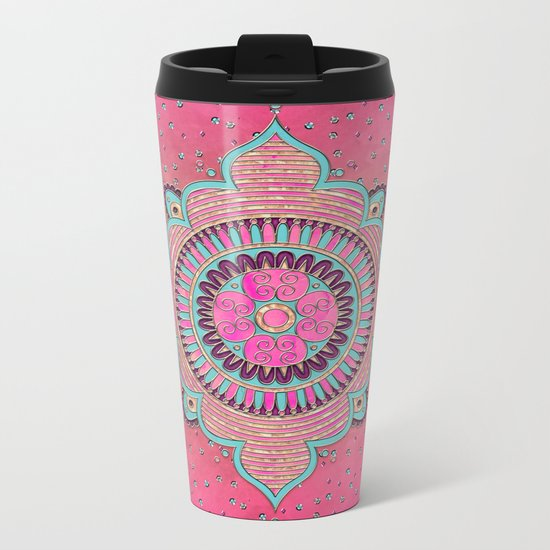 India Pink Mandala Pattern Metal Travel Mug