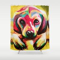 puppy Shower Curtains featuring Puppy by stepanka hejlova