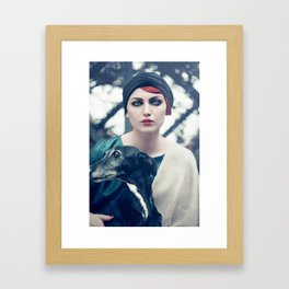 Woman and galgo espagnol Framed Art Print