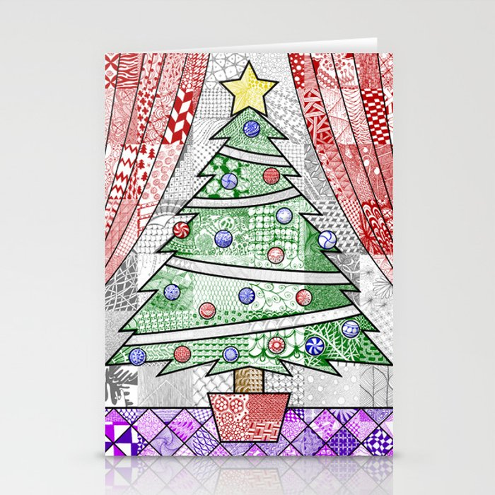 Coloured Christmas Tree Stationery Cards
