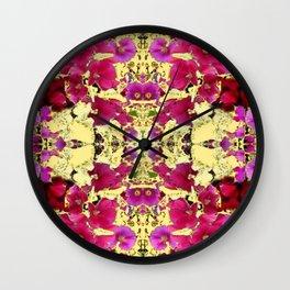DESIGN OF PINK & RED HOLLYHOCKS YELLOW GARDEN Wall Clock