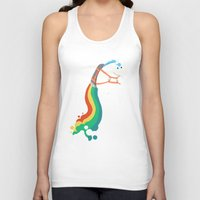 unicorns Tank Tops featuring Fat Unicorn on Rainbow Jetpack by Picomodi