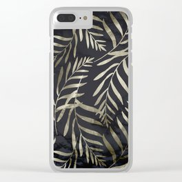 Modern Gold Leaves on Dark Marble Clear iPhone Case