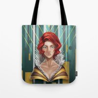 transistor Tote Bags featuring We All Become by Countmoopula