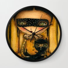 The Halloween Witch And The Black Cat Wall Clock