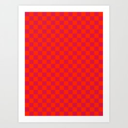 Scarlet Red and Crimson Red Checkerboard Art Print