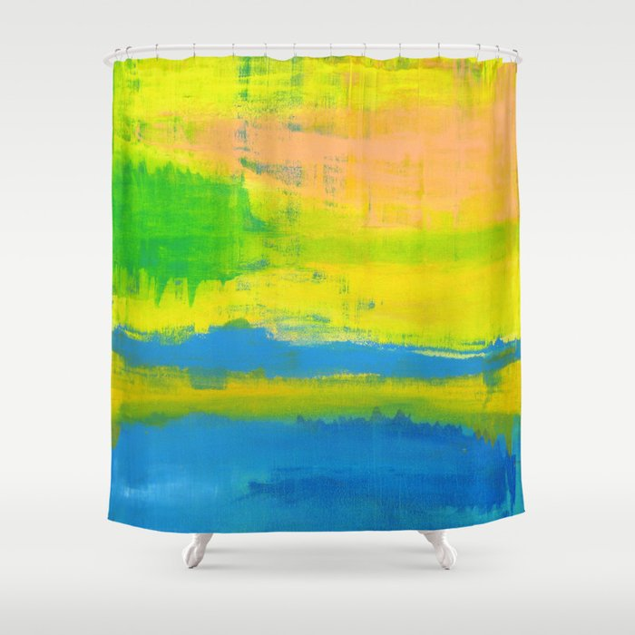 A Sunny Day Yellow Coral Blue Abstract Art Shower Curtain