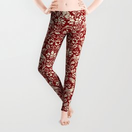 Pheasant and Hare Pattern, Deep Red and Cream  Leggings