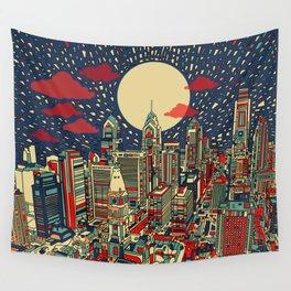 philadelphia city skyline Wall Tapestry