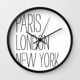 Paris, London, New York Wall Clock