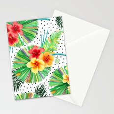 Tropical Watercolor Hibiscus & Plumeria Stationery Cards