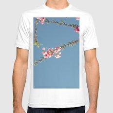 Romantic cherry flower White Mens Fitted Tee MEDIUM