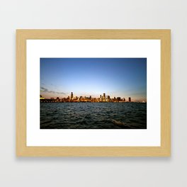 Chicago Skyline Sunset Framed Art Print