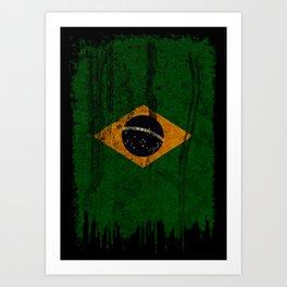 Brazil grunge vintage Flag Art Print