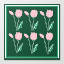 Tulips Pattern in Light Pink and Dark Green Canvas Print
