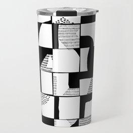 Black and White Typographical Fragmentation Cheater Quilt Travel Mug
