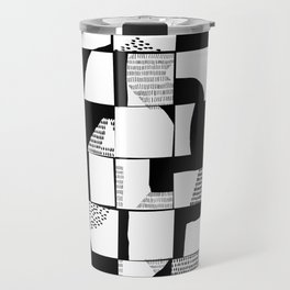 Black and White Typographical Fragmentation Cheater Quilt Travel Mug