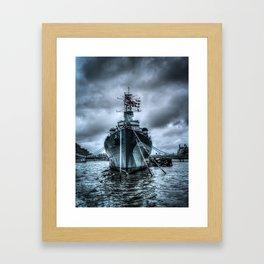 Warship on the Thames Framed Art Print