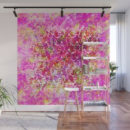 Fuchsia Watercolor Abstract Painting Boho Style Arabesque Wall Mural