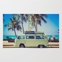 vw bus Area & Throw Rugs featuring VW Bus Beach Vacation by Limitless Design