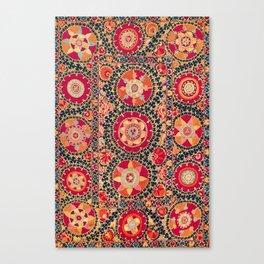 Kermina Suzani Uzbekistan Floral Embroidery Print Canvas Print