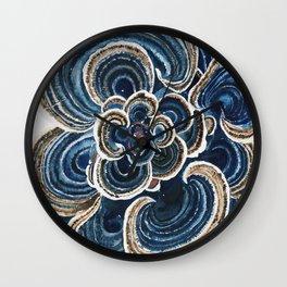 Blue Trametes Mushroom Wall Clock
