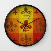 fleur de lis Wall Clocks featuring Fleur de lis #3 by Camille