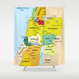 Map of Twelve Tribes of Israel from 1200 to 1050 According to Book of Joshua Shower Curtain