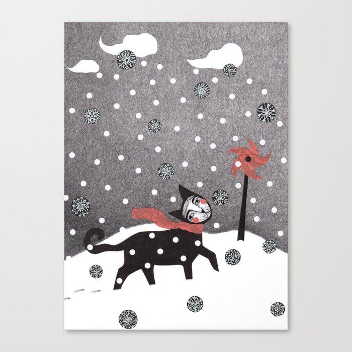 Snow Cat Canvas Print