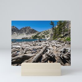 Sawtooth Lake in Idaho with lots of logs and driftwood in foreground Mini Art Print