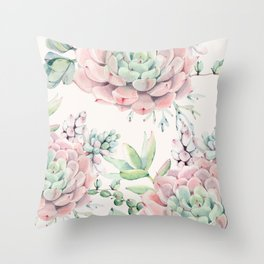 Pink Succulents on Cream Throw Pillow