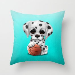 Dalmatian Puppy Dog Playing With Basketball Throw Pillow
