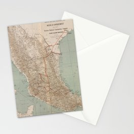 Vintage Mexico Railroad Map (1881) Stationery Cards