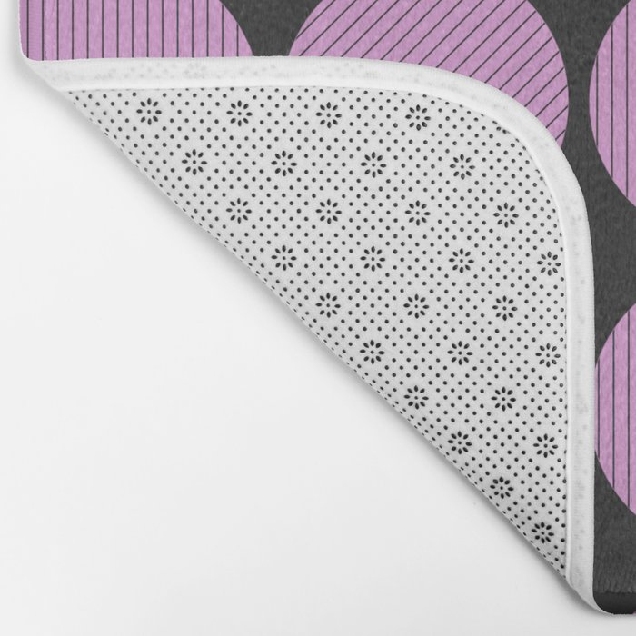 Pastel Pink Geometry (Abstract design in pink and charcoal) Bath Mat