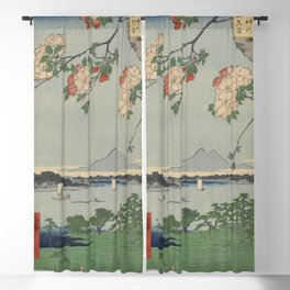 Cherry Blossoms on Spring River Ukiyo-e Japanese Art Blackout Curtain