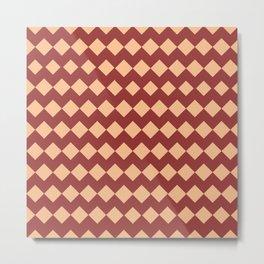 Maroon Peach Moroccan Tile Pattern Metal Print
