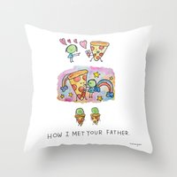 how i met your mother Throw Pillows featuring How I Met Your Father by mariorigami