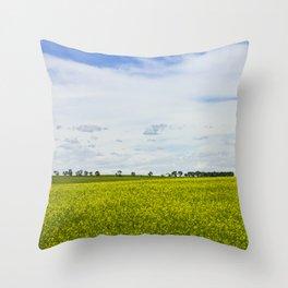Canola Field Yellow - Landscape Throw Pillow