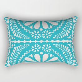 Fiesta de Flores Turquoise Rectangular Pillow
