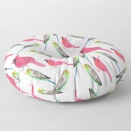 Birds in complementary color scheme- Budgies and cardinals Floor Pillow