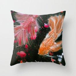 Splendens Splatter in Red and Orange Throw Pillow
